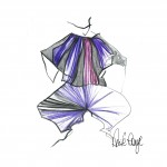 Wide trousers and shawl illustration by Anita Ronga